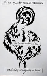Father Wolf + Son Moon Howl - Tribal Design