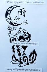 Lunar Butterfly Wolf - Tribal Design