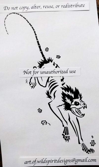 Schrodinger Skeleton Cat - Tribal Design