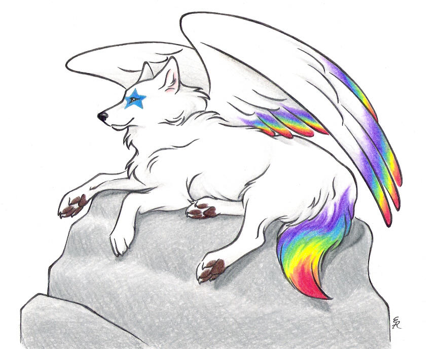 Rainbow the beauty At_Rest_Commission_by_WildSpiritWolf