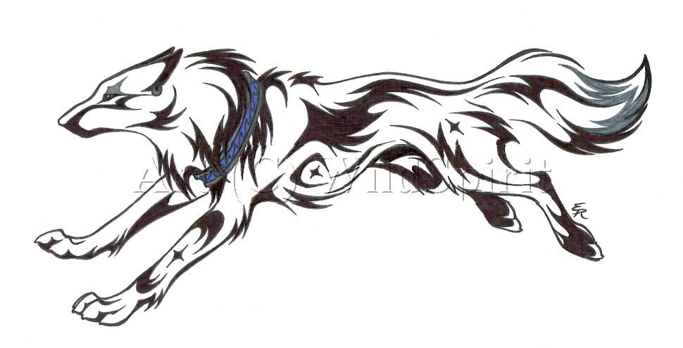 Running Wolf Outline Tattoo