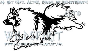 Running Keeshond Tattoo by WildSpiritWolf