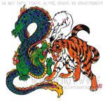 Wolf Dragon Tiger Color Tattoo