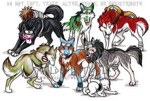 Naruto Wolf Group Commish by WildSpiritWolf