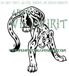 Tribal Leopard Tattoo Commish by WildSpiritWolf