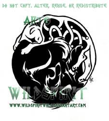 Tribal Wolf Celtic Cat Tattoo by WildSpiritWolf