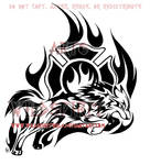 Through The Flames - Wolf Tribal Design