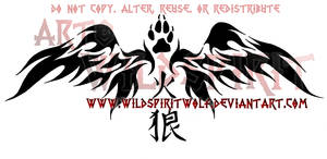 Fire Wolf Flame Wings Tattoo