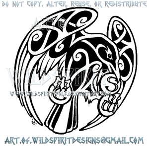 Raven + Medallions Celtic Knotwork Design