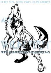 Howling Emotion Wolf Tribal Design by WildSpiritWolf