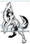 Howling Emotion Wolf Tribal Design