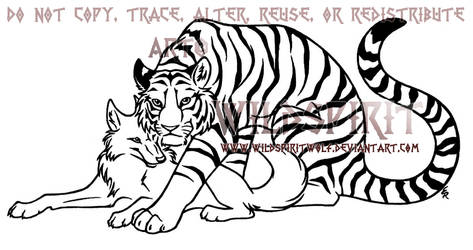 Tiger And Wolf Lovers Lineart