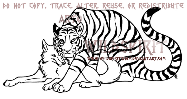 Tiger And Wolf Lovers Lineart by WildSpiritWolf