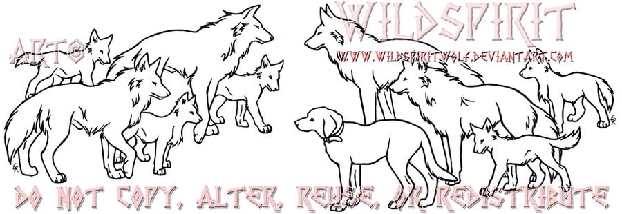 Lineart Wolf Tattoo : Wolf group lineart tattoo by wildspiritwolf on deviantart