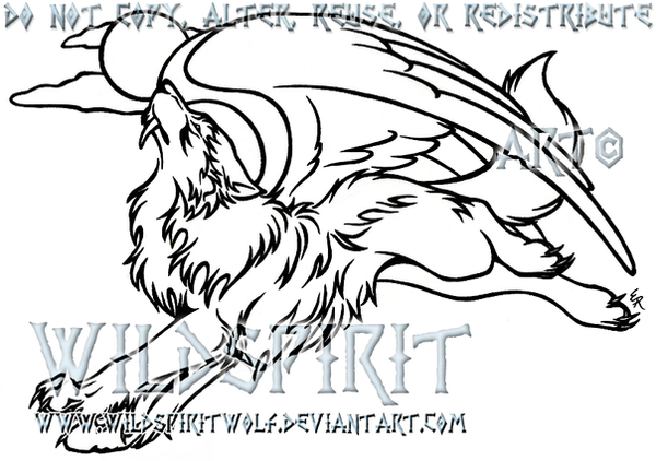 Lineart Wolf Tattoo : Flying werewolf lineart tattoo by wildspiritwolf on deviantart