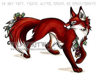 Flower Fox Copic by WildSpiritWolf