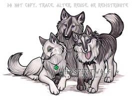 Craz Wolf's Trio Commish by WildSpiritWolf