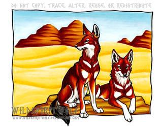 Ethiopian Wolves In Copic by WildSpiritWolf