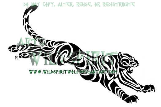 Leaping Tribal Leopard Tattoo