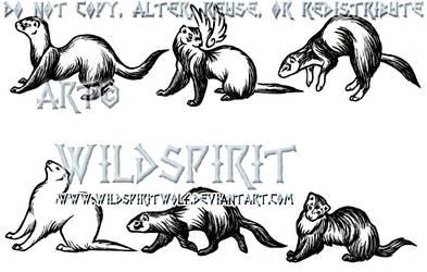 Six Ferret Tattoo Set