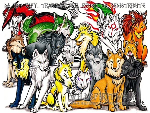 Anime Wolf Group Commission by *WildSpiritWolf on deviantART