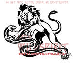 Tribal Fury Lion Snake Tattoo