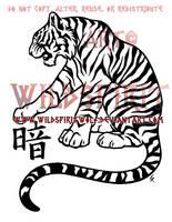 Darkness Kanji Tiger Design by WildSpiritWolf