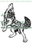 Standing Howling Wolf- Nordic Flame Tribal Design