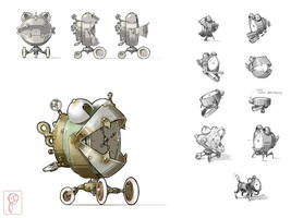Robot Concept Steampunk by Papierpilot