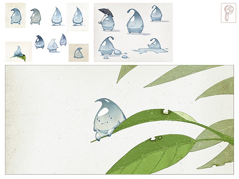 character design raindrop by Papierpilot