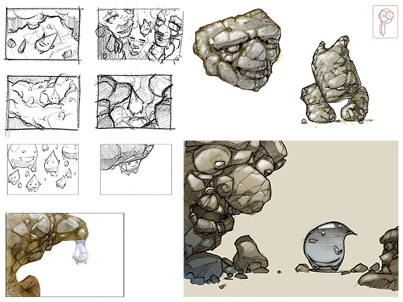 Character design drop + stones by Papierpilot