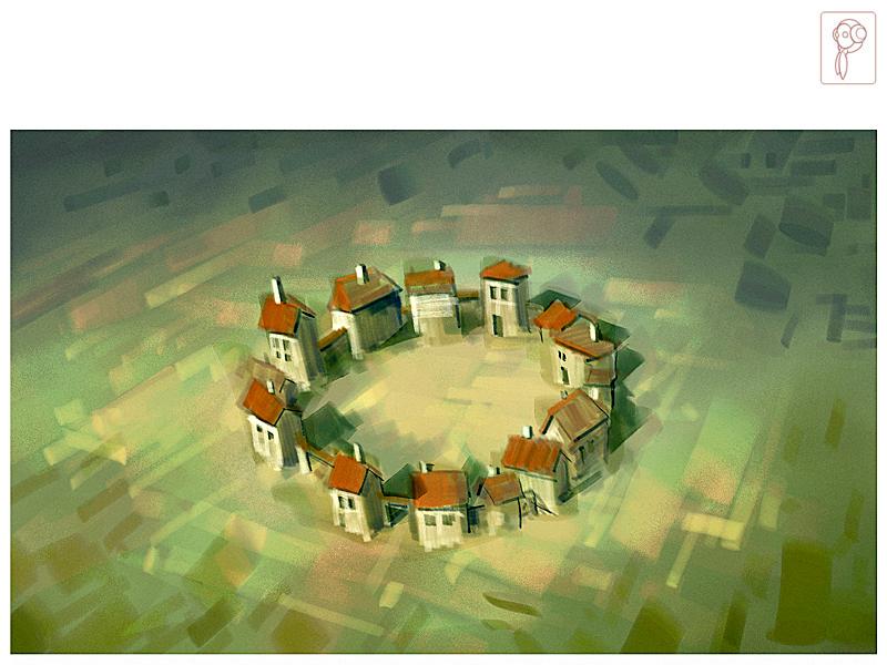 Circle Village Summer by Papierpilot
