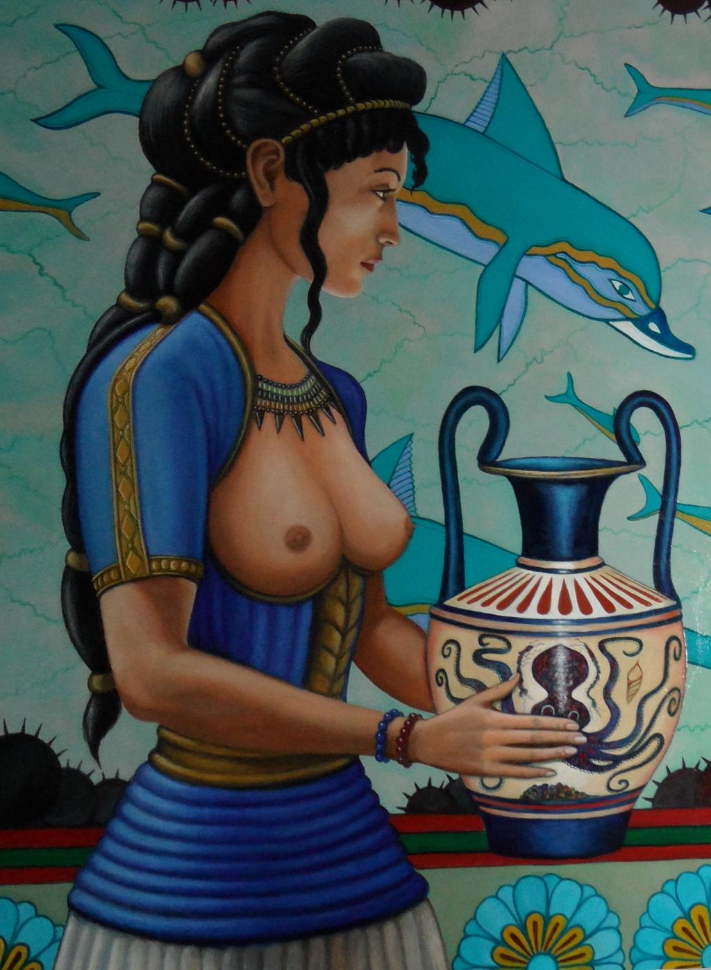 minoan dress open breasted
