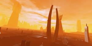 Alien City at Sunset