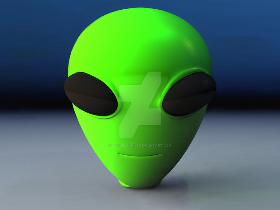 Green Alien Head by sicklilmonky