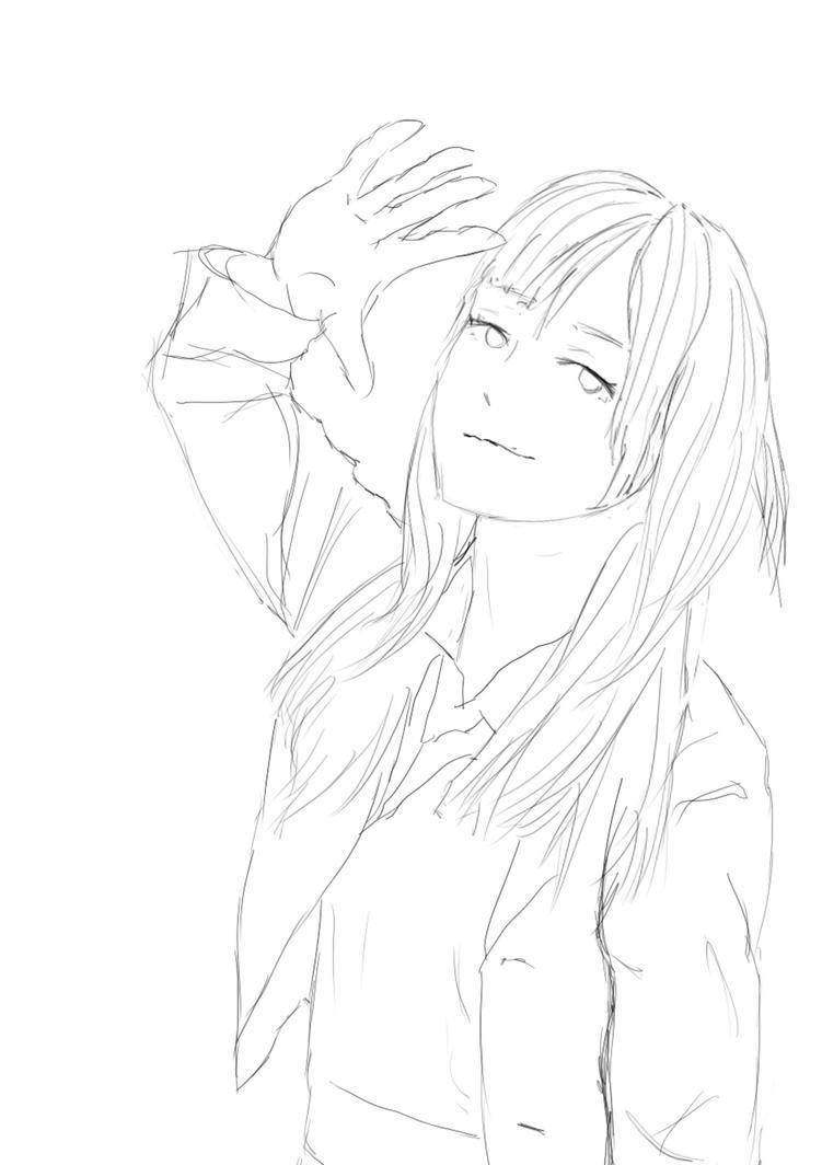 anime girl sketch by marithevar