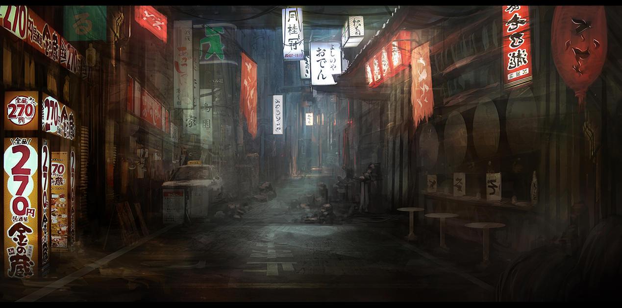 Neon Tokyo Alley by Narandel