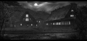 Japanese Village (Night) by Narandel