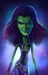 Caricature of Zoe Saldana as Gamora