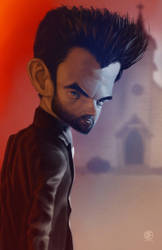Caricature of Dominic Cooper as Jesse Custer