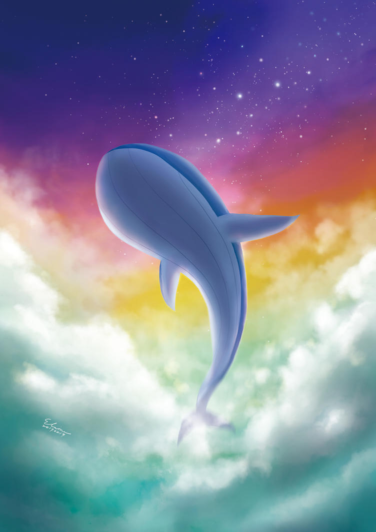 Whale with Sunset Stars by elainechen