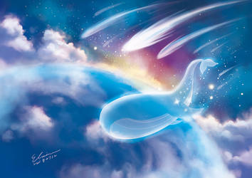 Whale with Shooting Stars by elainechen