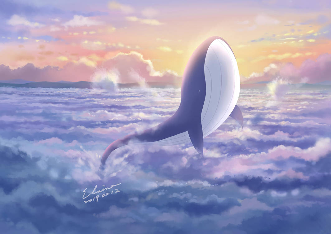 Whale with Sea of Clouds by elainechen