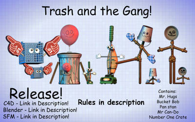 Trash And The Gang Pack C4D | +Blender and SFM by BlackiieProductions