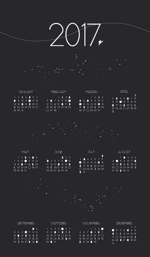 2017 Moon Phase Calendar PRINT