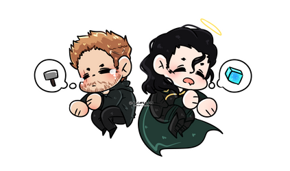 [ MARVEL ] Sleepy Thor and Loki by AllCapsAloha