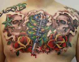 chest tattoo by graynd