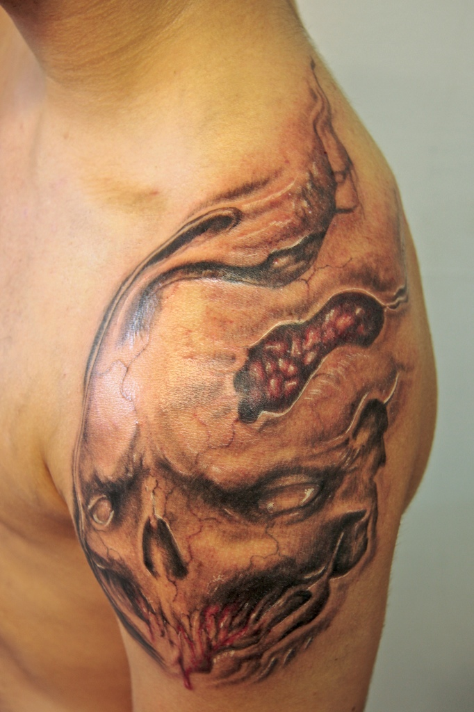 skullthing on shoulder - shoulder tattoo