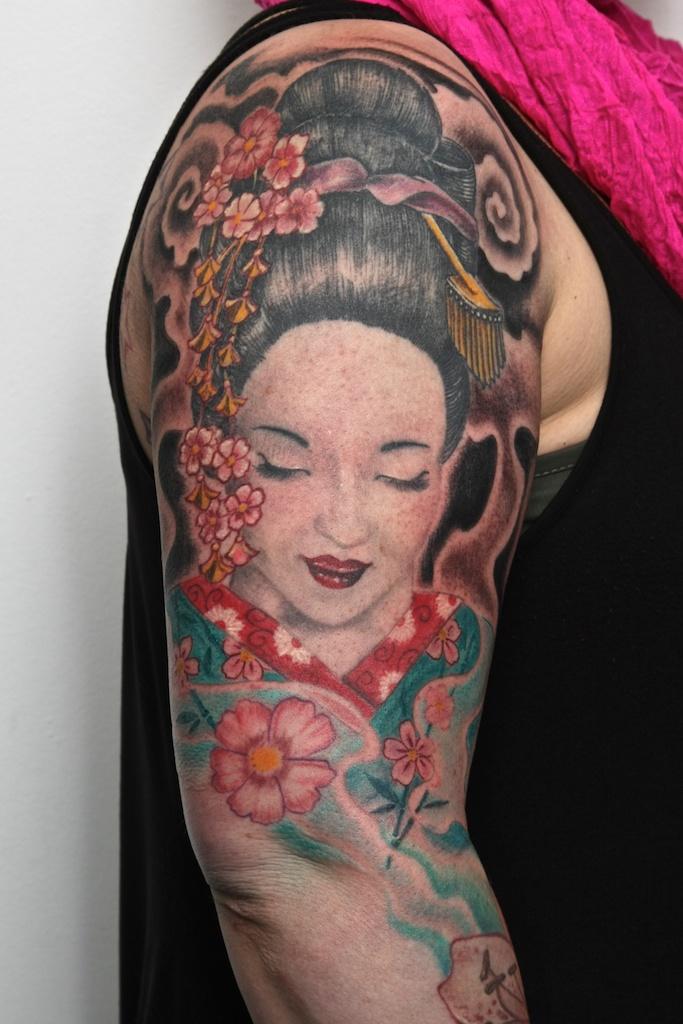 geisha tattoo arm by graynd