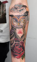 owl tattoo by graynd